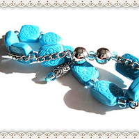 Blue Beaded Bracelet~Women's Blue Beaded  Bracelet~Blue Beaded Bracelet With Silver Chain  On Stretch Cord