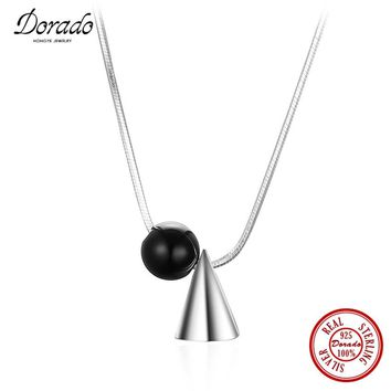 Dorado New Hot Sale Jewelry Ball Black Resin Cone Silver Pendant Necklace for Women Daily Wear 925 Sterling Silver