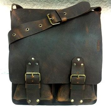 Classic Handcrafted Distressed Brown Messenger Bag. Large Men/ Women Leather Bag. Crossbody. Big Pockets Leather Bag. Unisex.