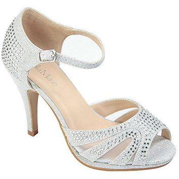 Chicastic Rhinestone Pumps TStrap Peep Toe Womens 45quot High Heel Platform Bridal Party Prom Wedding Shoes