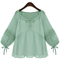 Green Lace Crochet Paneled Lace-Up Blouse with Lining