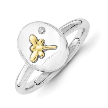 Sterling Silver, 14k Gold Dragonfly & Diamond 12mm Oval Stackable Ring