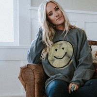 Happy Face Graphic Sweatshirt