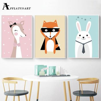 AFFLATUS Deer Fox Rabbit Wall Art Posters And Prints Canvas Painting Nordic Poster Animals Prints Wall Pictures Kids Room Decor