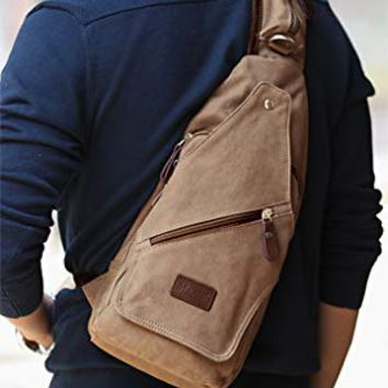 Muzee Canvas Sling Bag Shoulder Backpack Outdoor Travel Crossbody Pack for Men (khaki)