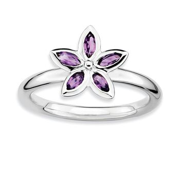 Sterling Silver & Amethyst Stackable 5 Marquise Stone Flower Ring