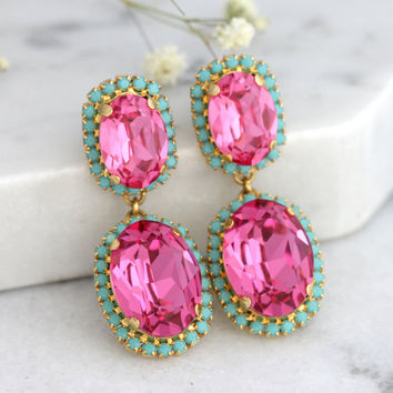 Pink Chandeliers, Pink Turquoise Earrings, Mint Pink Earrings, Swarovski Chandelier Earrings, Pink Turquoise Chandeliers,Bridal Earrings