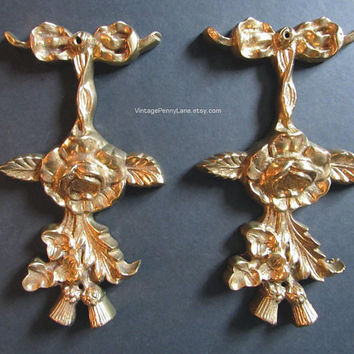 Vintage Brass Wall Accents, Ribbon / Bow Floral Swag, Set of 2