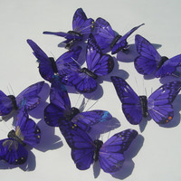 vibrant purple feather butterfly hand made hair clip