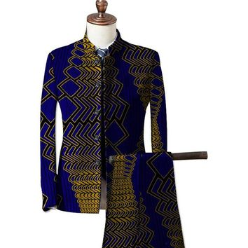 African Dashiki Print Blazer And Pant 2 Pieces Set Men Blazers African Ankara Suit Jacket