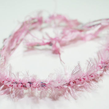 Cotton Candy Pink with Beads Kumihimo Fibre by epicstitching