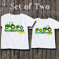 Coordinating Sibling Outfits for Boys - Boys Big Brother and Little Brother Tractor Sibling Shirts - Personalized Matching Outfits for Boys