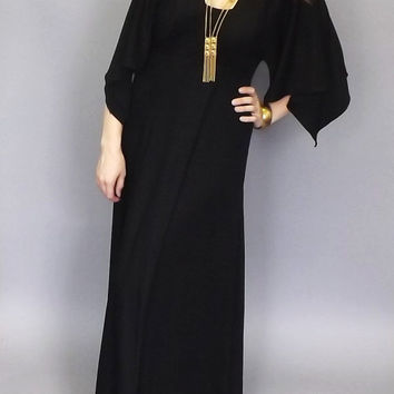 Vintage 1960's 70's Black Batwing  Maxi Dress Summer Sundress Romantic Indie Festival Hippie Butterfly Sleeves Goth Boho Vampire Macabre