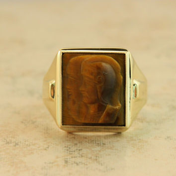 Vintage Cameo Ring Tigers Eye Ring Intaglio Ring 1940s Mid Century Ring 10k Yellow Gold Ring Mens Ring Estate Ring Gemstone Ring Size 8.25