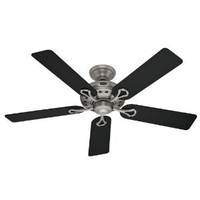 Hunter 20511 Savoy 52-Inch 3-Speed Ceiling Fan with 5 Black/Cherry Blades, Antique Pewter