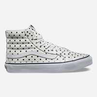 Vans Leather Polka Dot Sk8-Hi Slim Womens Shoes White  In Sizes