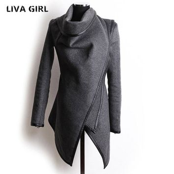New Autumn Winter Trench Coat Women Irregular Collar Lapel Side Zipper Woolen Coat Women Loose Sweater Outwear Plus Size