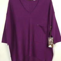 Kerisma Raven Slouchy Knit Sweater Pocket Top - Violet