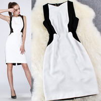 Colorblock Sleeveless Zipper Back Mini Dress
