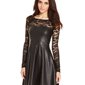 Dolled Up Juniors Dress, Long Sleeve Lace Faux-Leather Skater - Juniors Dresses - Macy's