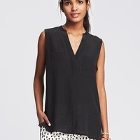 Dark Silk Sleeveless Popover Blouse