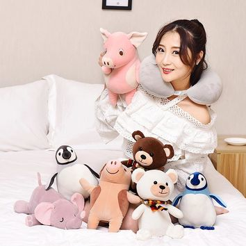 Large Deformed Pillow for Sleep Transform Lovely Unicorn Animals Bear Elephant Penguin Pink Pig Pet Toys For Kids/Young/Adult