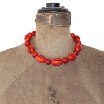 West Germany Necklace Red and Gold Plastic Beads