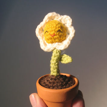 Tiny White Amigurumi Flower in a tiny ceramic Pot
