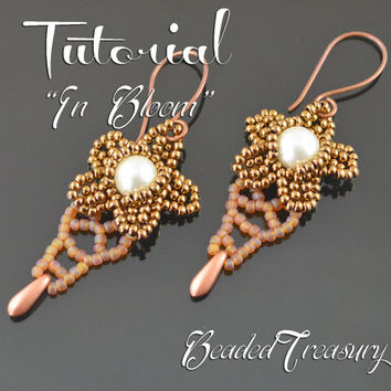 In Bloom - seed bead pattern, beading tutorial, beaded earrings tutorial, dagger bead pattern / TUTORIAL ONLY