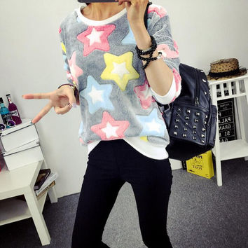 Cute printing patterns round neck sweater