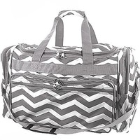 "Durable High Quality Chevron Print 22"" Duffel Travel Cheer Dance Gym Bag (Grey)"