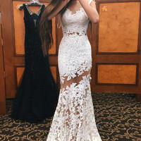 Sleeveless Long White Applique Prom Dresses,Prom Dress