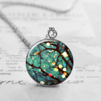 Winter Tree Necklace, Art Photography Jewelry, Bokeh Photography Necklace, Tree Pendant Charm, Friendship Gift, N032