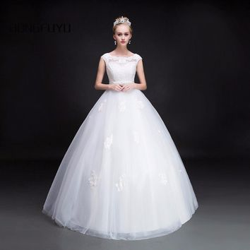 Beauty Scoop Neck Tulle Sleeveless Wedding Dresses Back Lace UP With Sashes Ball Gown Wedding Gowns