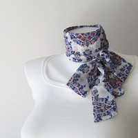 Blue White Skinny Scarf, Floral Chiffon Scarf, Long Thin Scarf with Angled Ends, Neck Tie, Headband, Narrow Scarf, Spring Summer Fashion