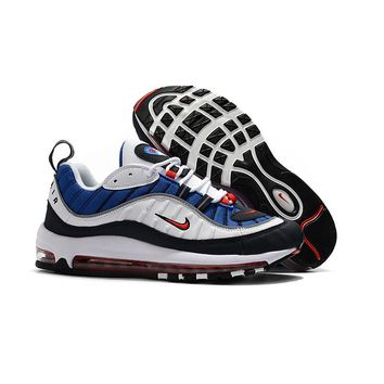 Nike Air Max 98 Gundam White/University Red-Obsidian-Metallic Silver-Game Royal-Black Running Shoes - Best Deal Online