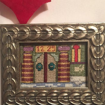 Framed Christmas completed cross stitch, finished cross stitch, Santa's Castle North Pole, Mini art, Framed artwork, sampler cross stitch
