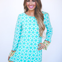 Circle Print Dress- Mint/Orange