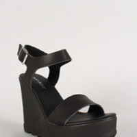 Bamboo Slingback Buckle Lug Sole Platform Wedge