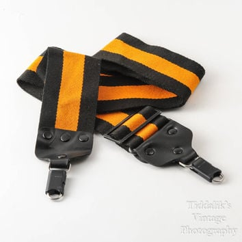 Vintage Kaiser Wide Camera Strap Orange and Black Strip with Locking Strap Lugs - Made in Germany Good Quality and Rare