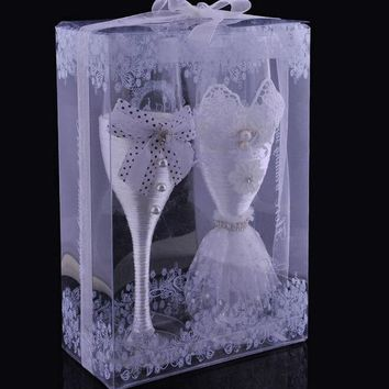 creative gifts bride and groom wine glasses cup