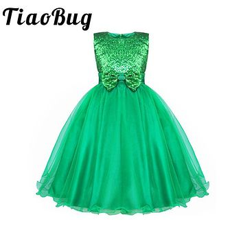 TiaoBug Sequined Baby Toddler Kids Tulle Tutu Dress Girls Flower Dress Wedding Bridesmaid Birthday Party Pageant Princess Dress