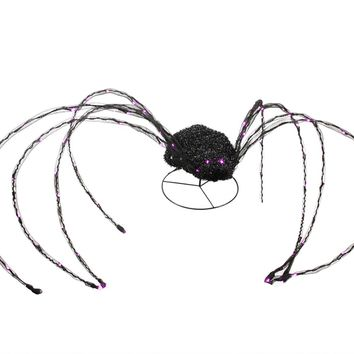 "Giant 98"" LED Lighted Spooky Halloween Spider Yard Art Decoration with Blinking Purple Lights"