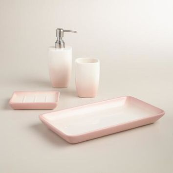 Blush Ombre Ceramic Bath Accessories Collection