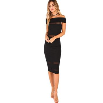 Women's Black Mesh Cut Out Midi Dress