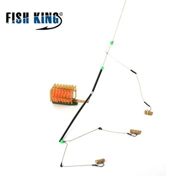FISH KING 1PC 45CM Length 40G-100G Three Hooks Carp Fishing Feeder Bait Cage Lure Connector Holder Basket For Fishing Tackle