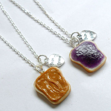 Peanut Butter Jelly Necklace Set, Best Friend's BFF Charm Necklaces :)