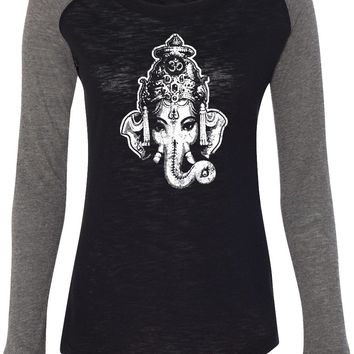 Womens Yoga T-shirt Ganesha Head Preppy Patch Elbow Tee