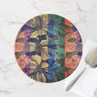 Delphinium flowers painting cake stand