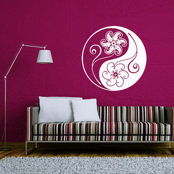 Wall Decal Vinyl Sticker Decals Art Home Decor Murals Yin Yang Symbol Floral Patterns Ornament Geometric Chinese Asian Religious Decal AN572